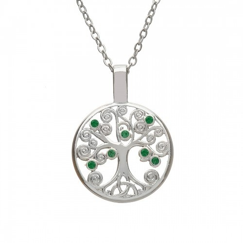 Silver Tree of Life Pendant with Green Stones