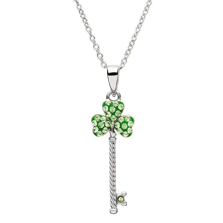 Shamrock Key Pendant with Swarovski Crystal