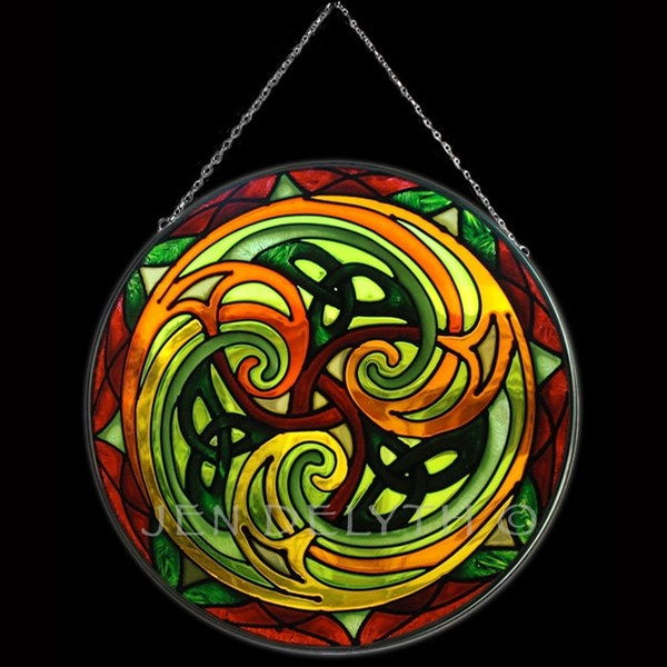 Keltic Designs Celtic Stained Glass (Triskel)