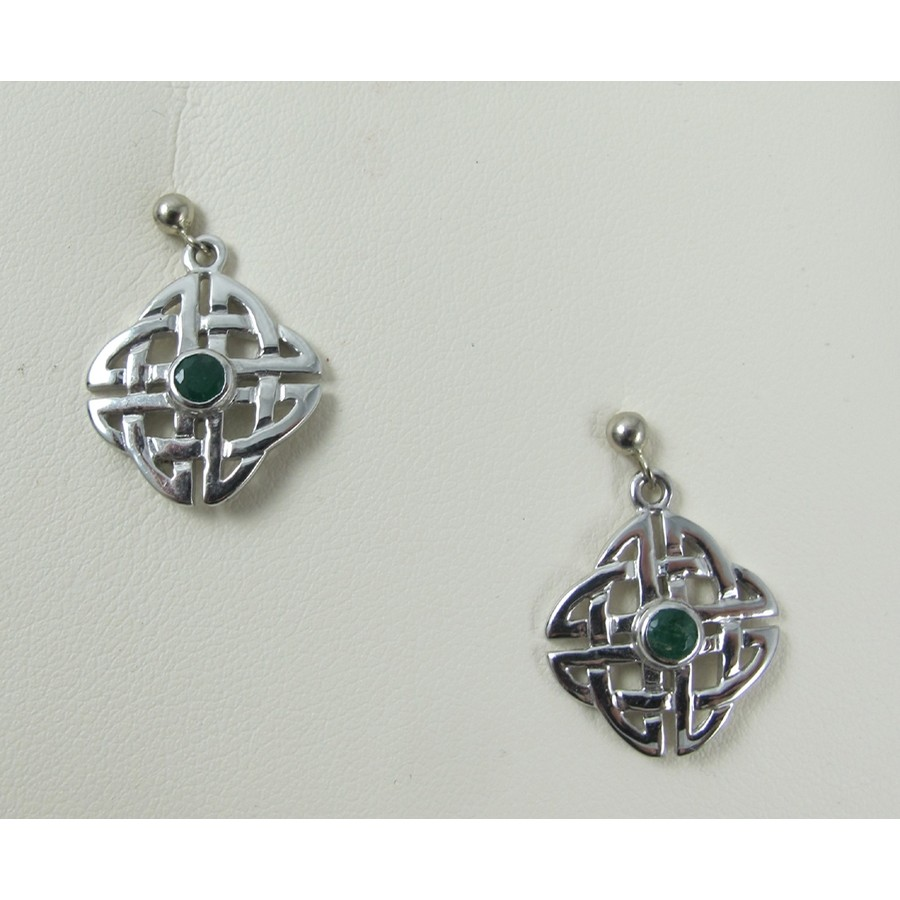 Celtic Knot Earrings with Emerald 14K White Gold