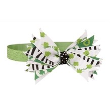 Shamrock Baby Headband with Black Stripes