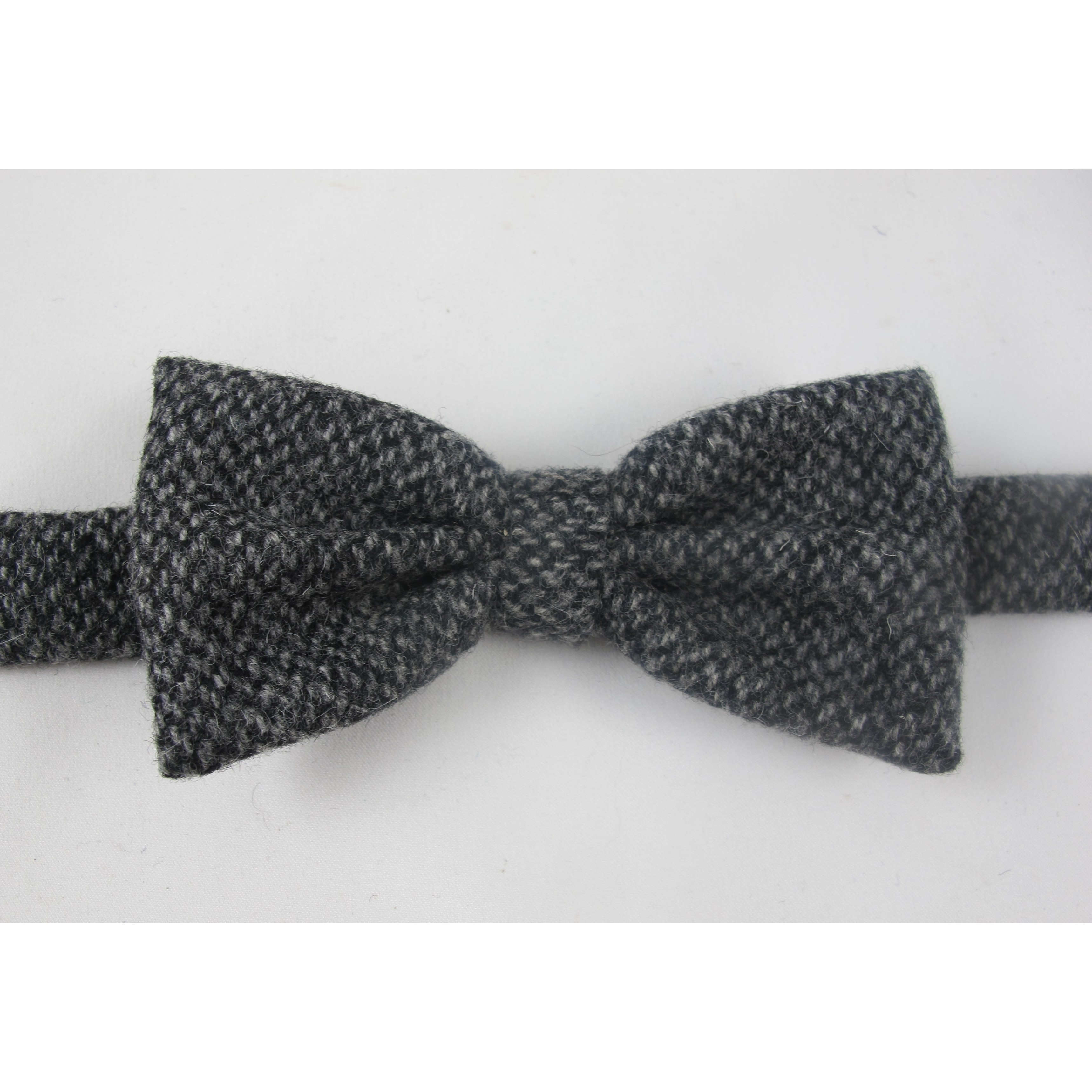 Black and White Tweed Bow Tie