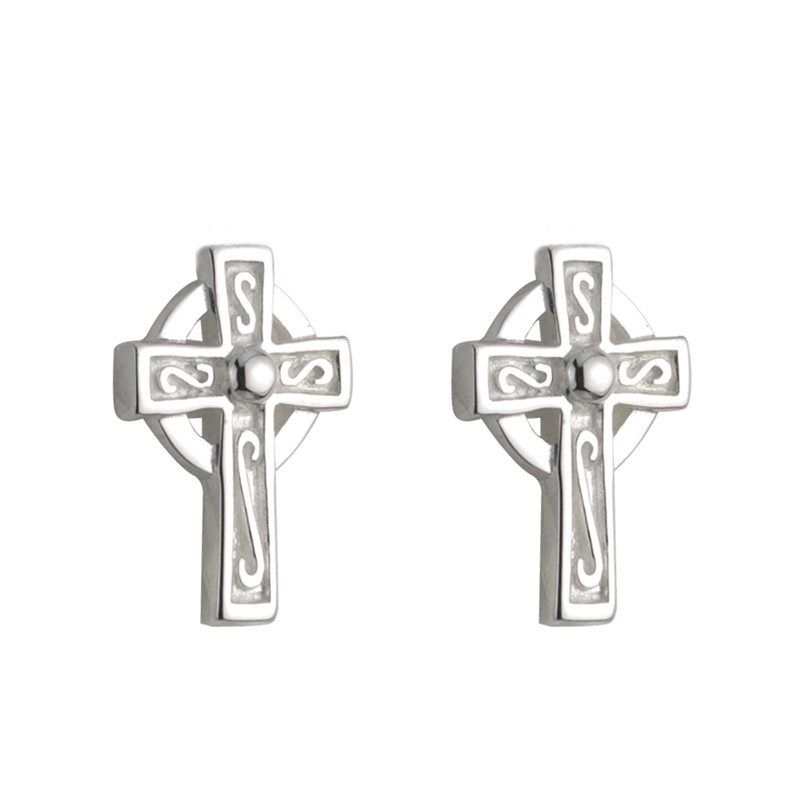 Solvar Jewelry Silver Celtic Cross Stud Earrings