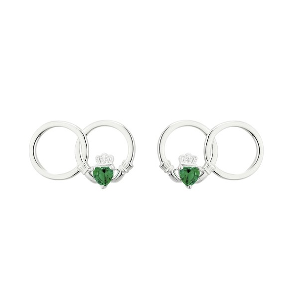 Claddagh Infinity Earrings