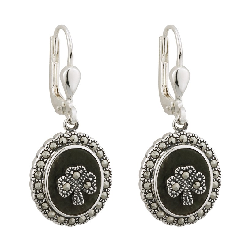 Solvar Jewelry Connemara Marble Shamrock Earrings