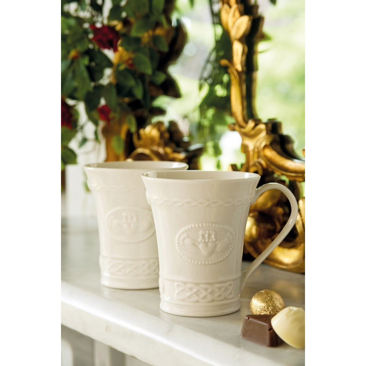 Belleek China Belleek Claddagh Mugs Pair