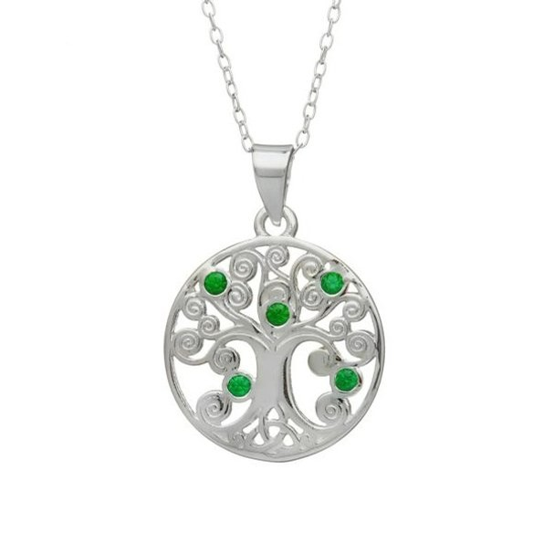 Tree of Life Pendant with Green Stones