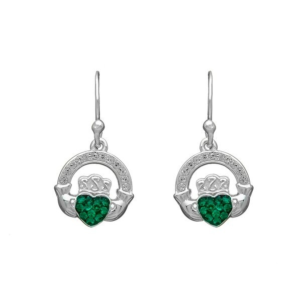 Claddagh Drop Earrings with Stones