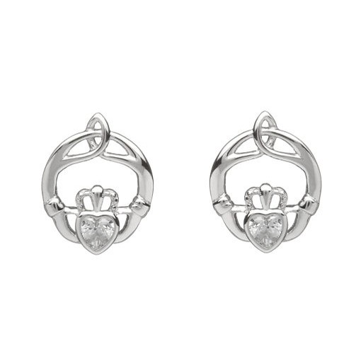 Birthstone Claddagh Trinity Earrings (April)