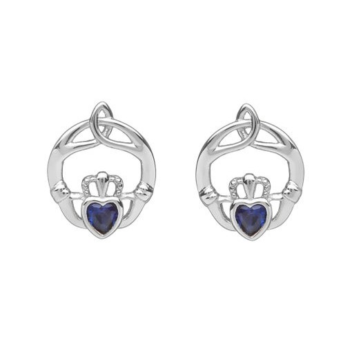 Birthstone Claddagh Trinity Earrings (September)