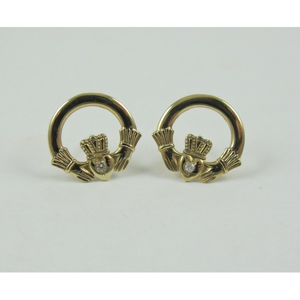 Claddagh Gold Earrings with Diamond