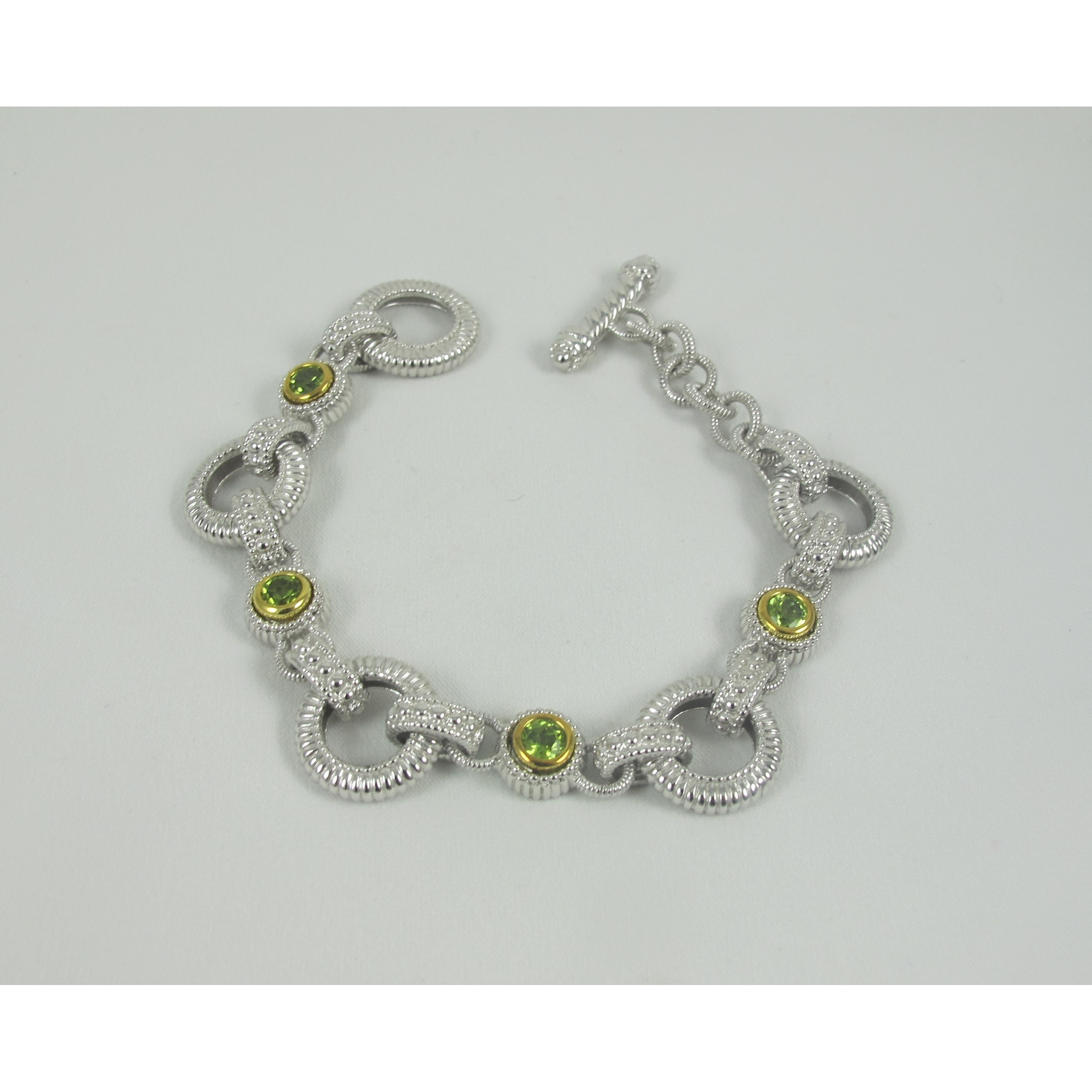 Sterling Silver Cable Bracelet with Peridot