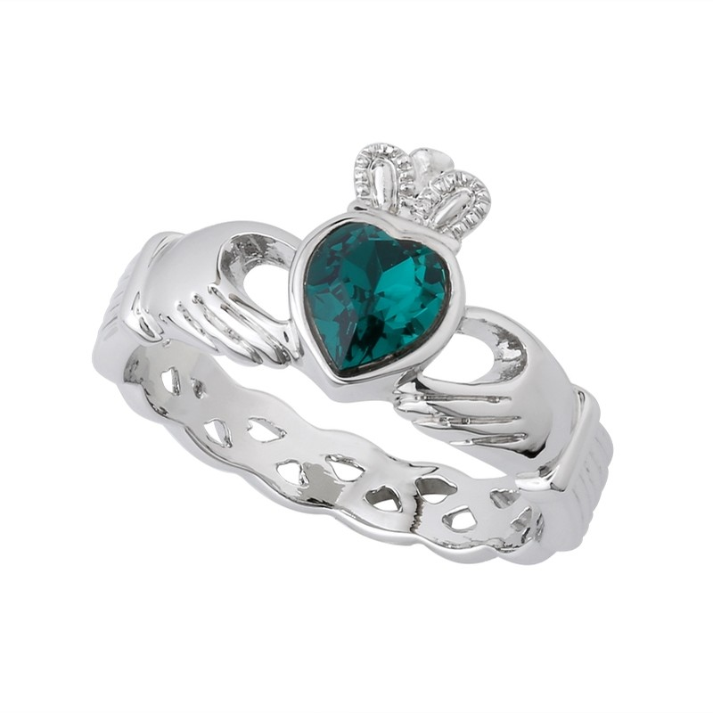 Rhodium Green Crystal Claddagh Ring