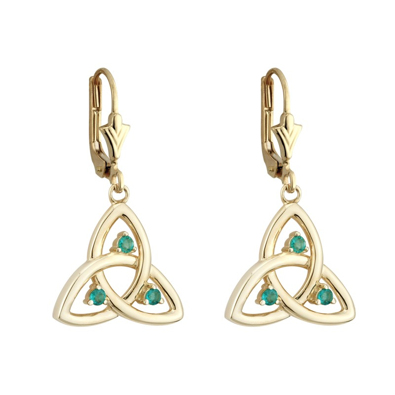 Gold Trinity Knot Emerald Earrings