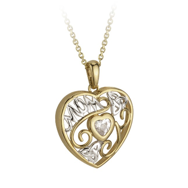 14k White and Yellow Mom Heart with CZ