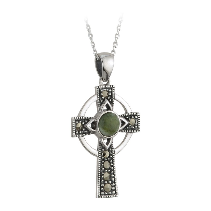 Solvar Jewelry Connemara Marble Celtic Cross