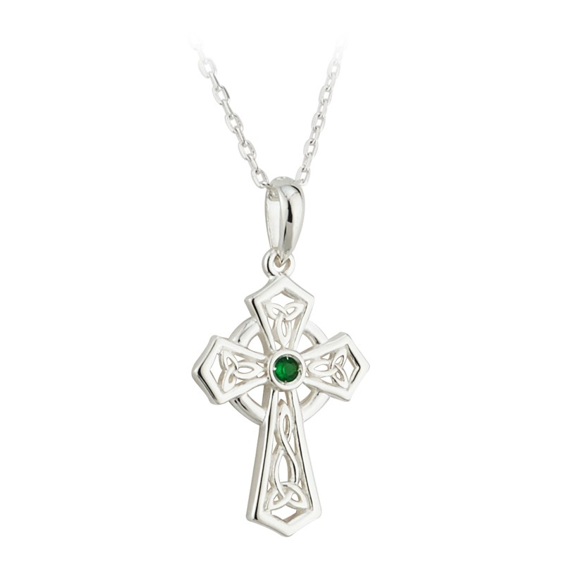 Solvar Jewelry Green Crystal Trinity Cross