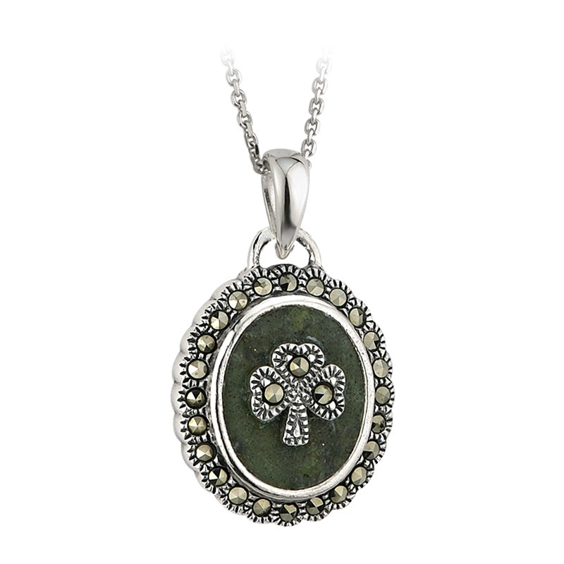 Solvar Jewelry Connemara Marble Pendant with Shamrock