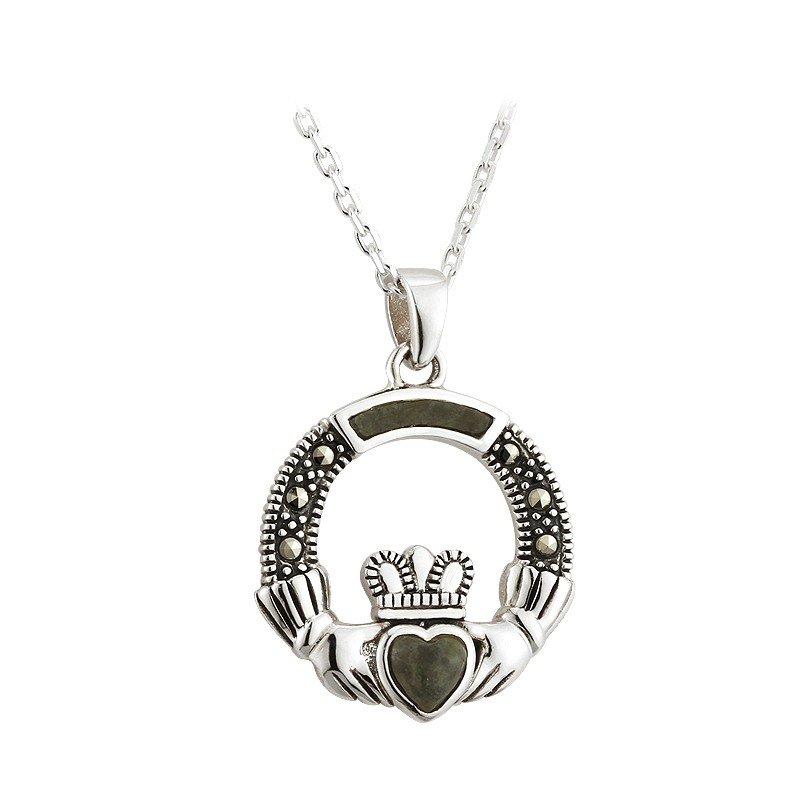 Claddagh Connemara Marble and Marcasite Pendant