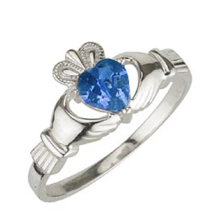 Solvar Jewelry Sterling Silver Claddagh Birthstone September