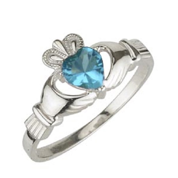 Sterling Silver Claddagh Birthstone December