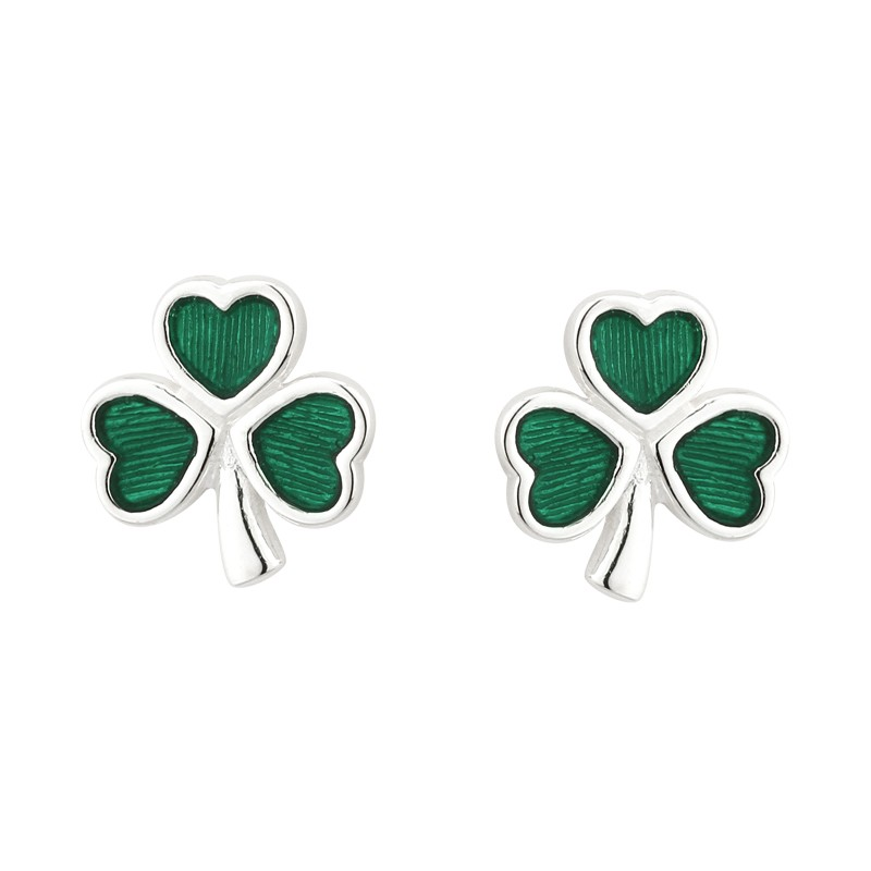 Solvar Jewelry Green Shamrock Stud Earrings
