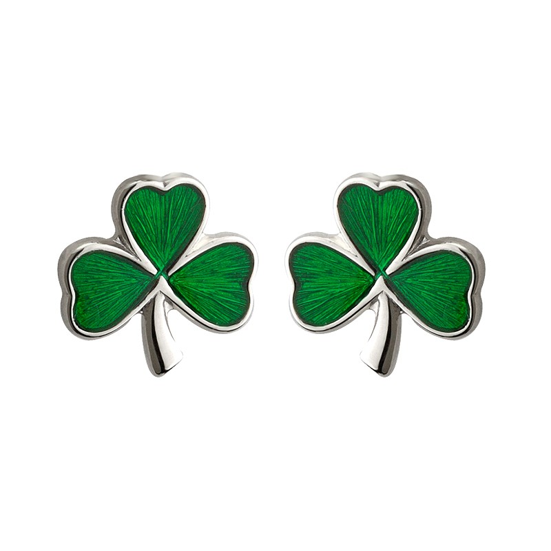 Solvar Jewelry Small Green Shamrock Studs