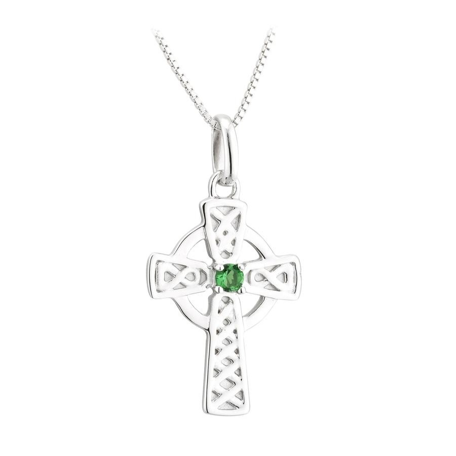 Acara Green Cyrstal Small Cross Pendant