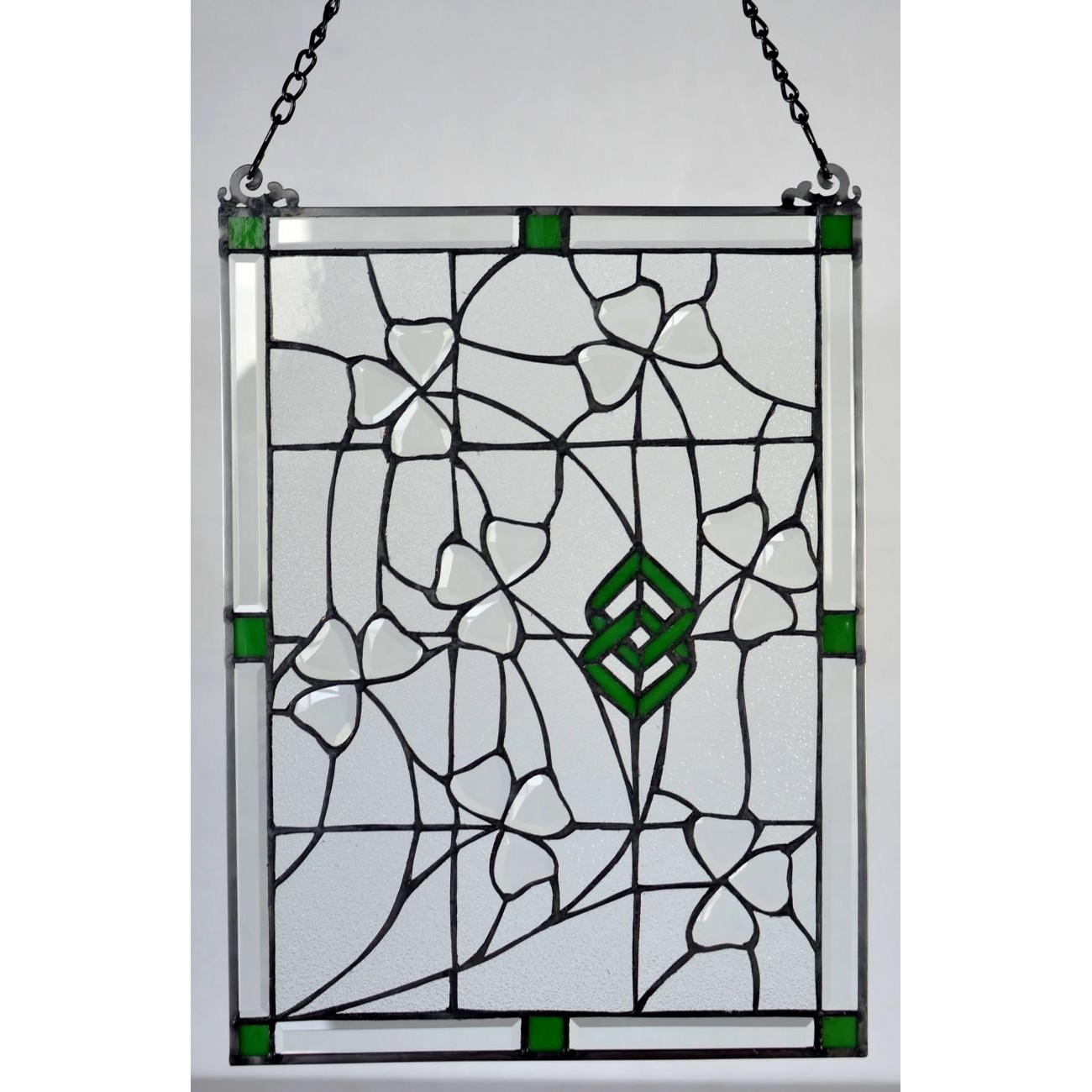 Irish Shamrock Beveled Stained Glass
