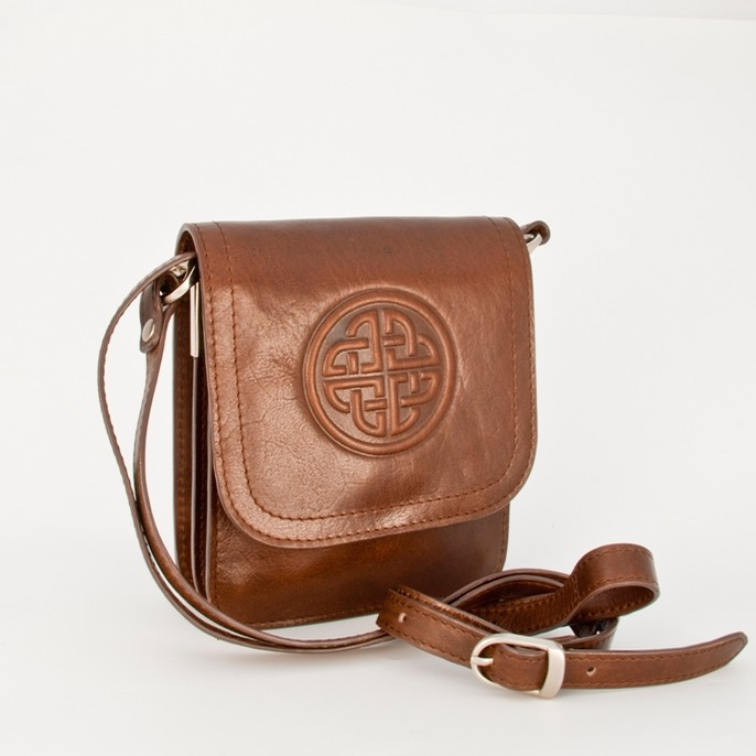 Leather Celtic Knot Shoulder Bag Small