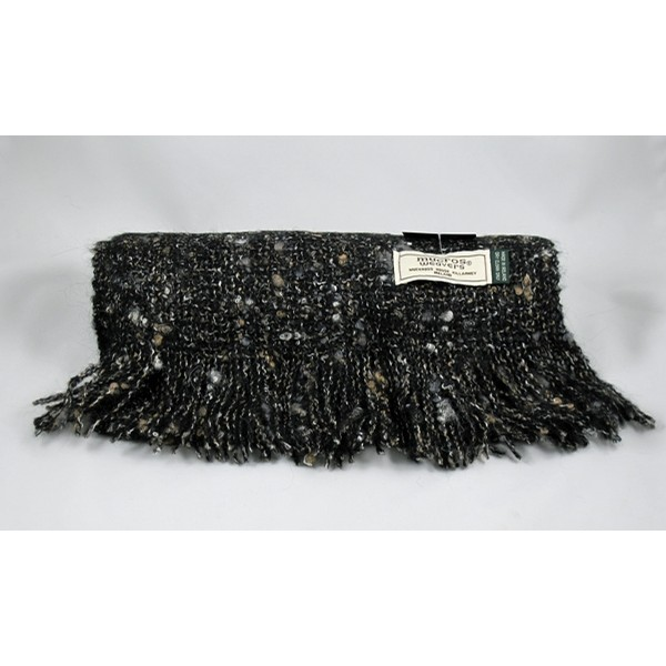 Black Stone Alpaca Boucle Irish Scarf