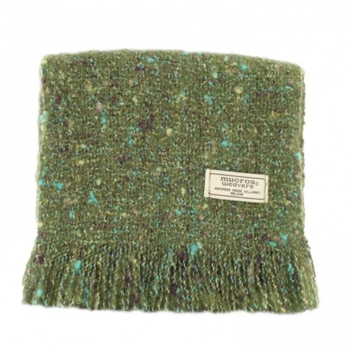Green Alpaca Boucle Irish Scarf