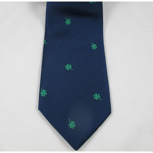 Navy Tie with Shamrocks