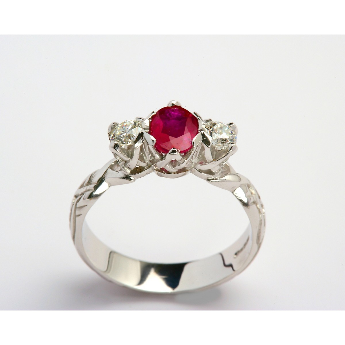 18K Livia Diamond and Ruby Three Stone Ring