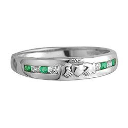 Solvar Jewelry White Gold Diamond and Emerald Claddagh Eternity Ring