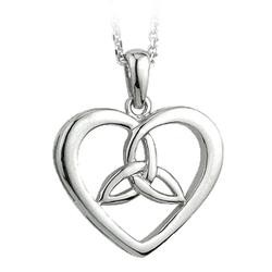 Solvar Jewelry Sterling Silver Heart and Trinity Knot Pendant