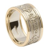 White Gold Celtic Cross Ring with Yellow Gold Trim