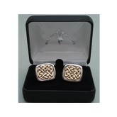 Celtic Weave Cuff Links / Gold and Silver-plated Brass