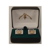 Deluxe Claddagh Cuff Links/Gold & Silver-plated Brass