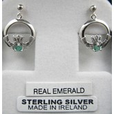Claddagh Earrings with Real Emerald Sterling Silver