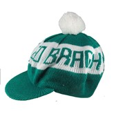 Green and White Beret with White Pompom Hat