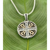 Gold Trinity Pendant with White Sapphire Cross