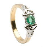 Emerald Trinity Engagement Ring with White Trinity