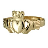 10K Gold Puffed Heart Gents Extra Heavy Claddagh