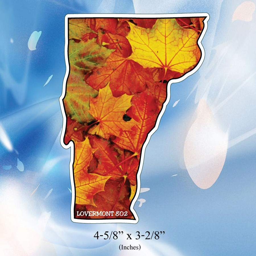 VT State Outline Sticker (Maple Leaves)