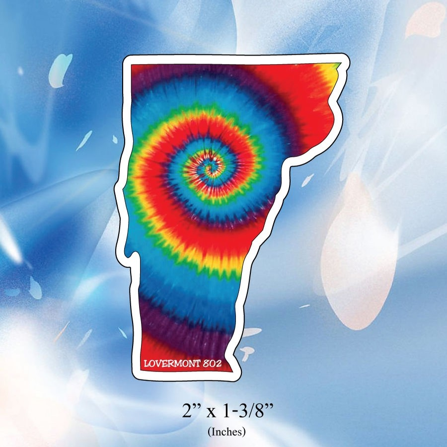 VT State Outline Sticker (Mini) (Tie Dye)