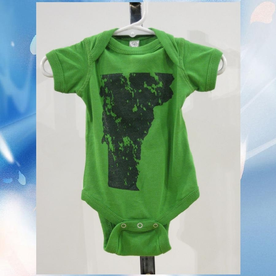 Distressed State onesie (Green Apple/Forest)