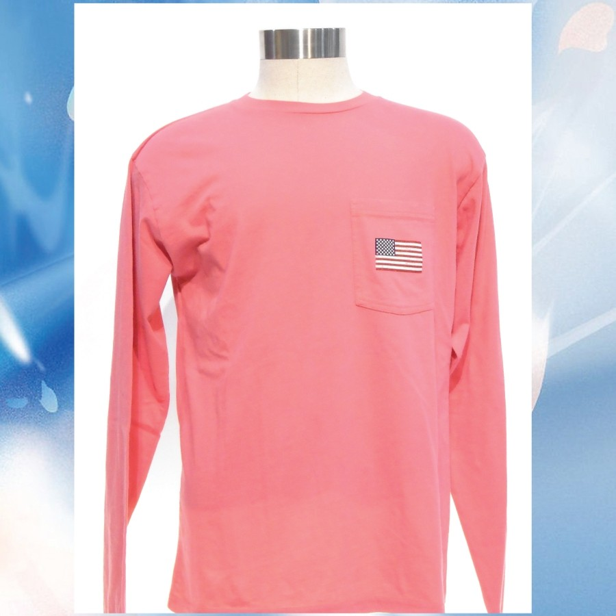 League VT Wash L/S Pocket Tee (Nantucket Red)