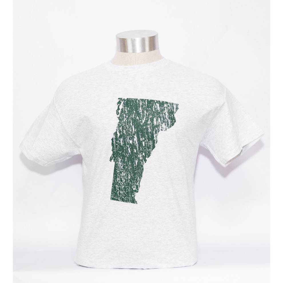 VT Distressed State Tee (ash/forest)