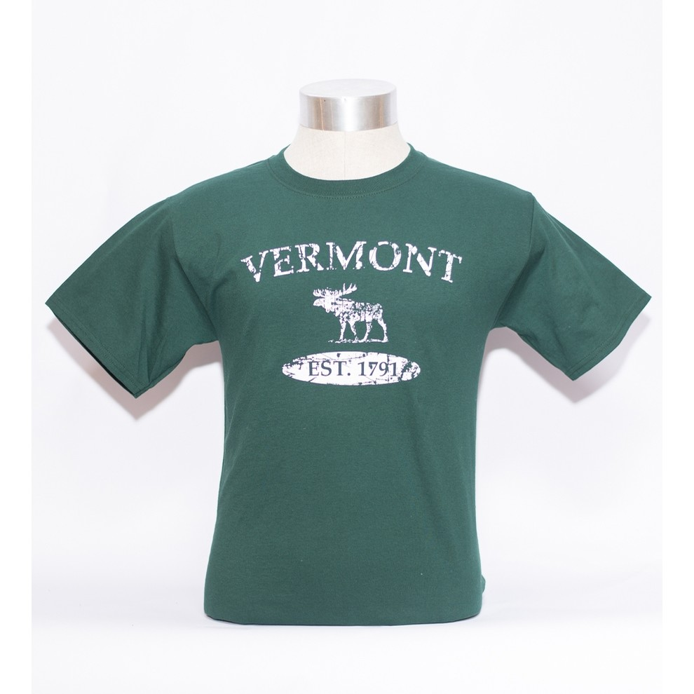 VT Distressed Moose Tee (Forest/White)